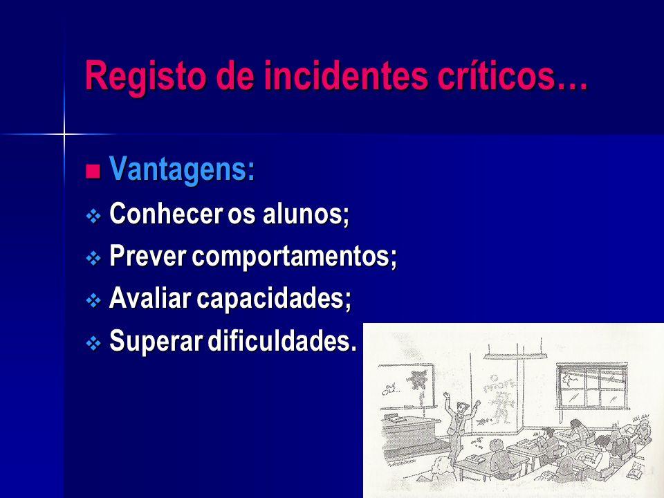 O que se entende por incidentes críticos…? Diz respeito a acontecimentos, interacções com pessoas ou fases da vida que operam mudanças nas condutas e