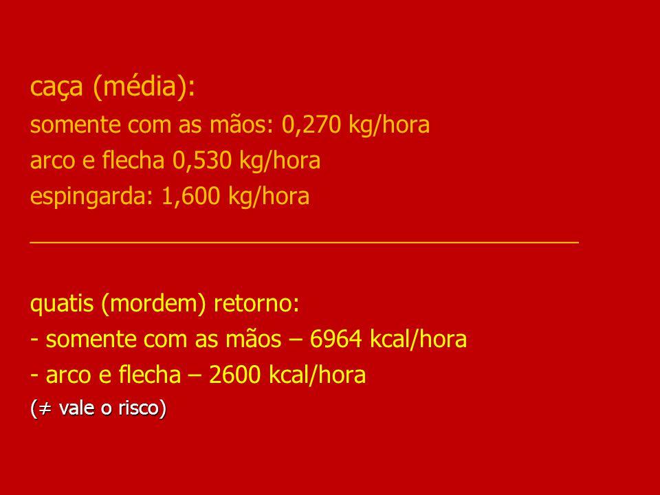 (≠ vale o risco) caça (média): somente com as mãos: 0,270 kg/hora arco e flecha 0,530 kg/hora espingarda: 1,600 kg/hora __________________________________________ quatis (mordem) retorno: - somente com as mãos – 6964 kcal/hora - arco e flecha – 2600 kcal/hora (≠ vale o risco)