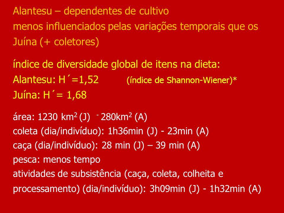 Alantesu – dependentes de cultivo menos influenciados pelas variações temporais que os Juína (+ coletores) índice de diversidade global de itens na dieta: Alantesu: H´=1,52 (índice de Shannon-Wiener)* Juína: H´= 1,68 área: 1230 km 2 (J) - 280km 2 (A) coleta (dia/indivíduo): 1h36min (J) - 23min (A) caça (dia/indivíduo): 28 min (J) – 39 min (A) pesca: menos tempo atividades de subsistência (caça, coleta, colheita e processamento) (dia/indivíduo): 3h09min (J) - 1h32min (A)