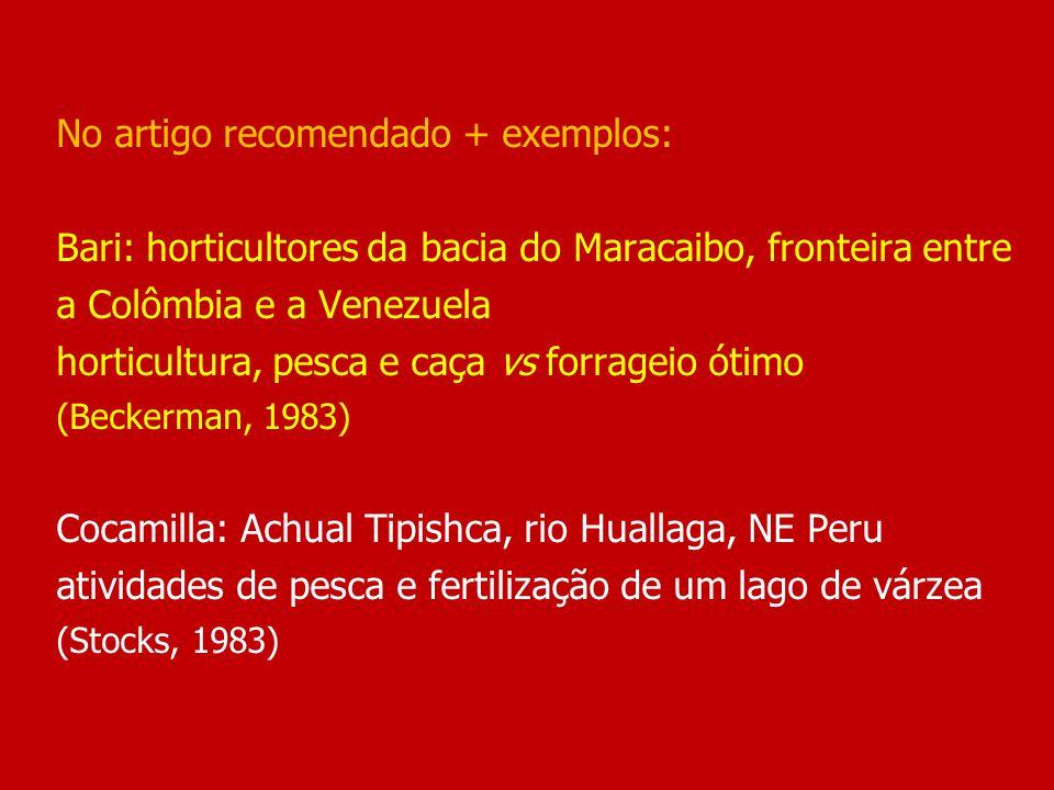 No artigo recomendado + exemplos: Bari: horticultores da bacia do Maracaibo, fronteira entre a Colômbia e a Venezuela horticultura, pesca e caça vs forrageio ótimo (Beckerman, 1983) Cocamilla: Achual Tipishca, rio Huallaga, NE Peru atividades de pesca e fertilização de um lago de várzea (Stocks, 1983)