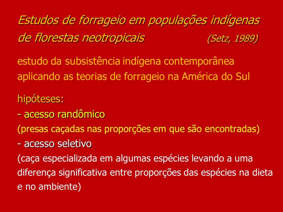 Estudos da Dieta dos: Syona-Secoya – Equador (18 meses – 1973-75; 79) Ye´kwana e Yanomamo – Venezuela (1975-76) outros fatores influenciam as taxas em que os caçadores capturam os diversos animais Estudos da Dieta dos: Syona-Secoya – Equador (18 meses – 1973-75; 79) Ye´kwana e Yanomamo – Venezuela (1975-76) ------------------------------------------------------------ - proporções das spp.