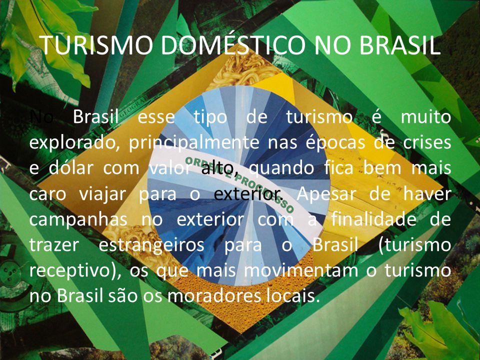 TURISMO DOMÉSTICO NO BRASIL No Brasil esse tipo de turismo é muito explorado, principalmente nas épocas de crises e dólar com valor alto, quando fica