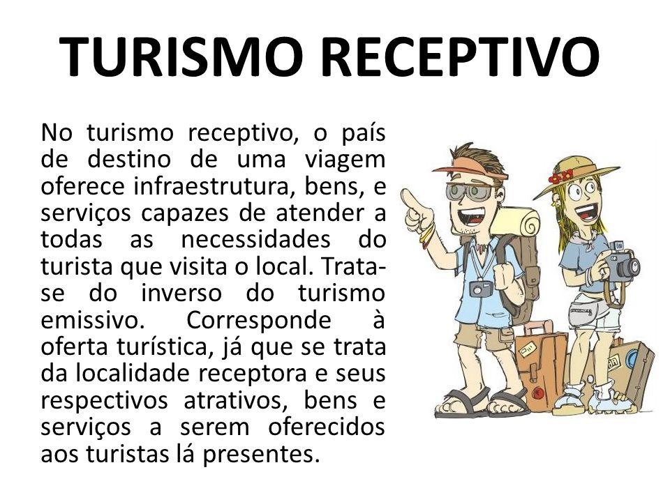 TURISMO RECEPTIVO No turismo receptivo, o país de destino de uma viagem oferece infraestrutura, bens, e serviços capazes de atender a todas as necessi