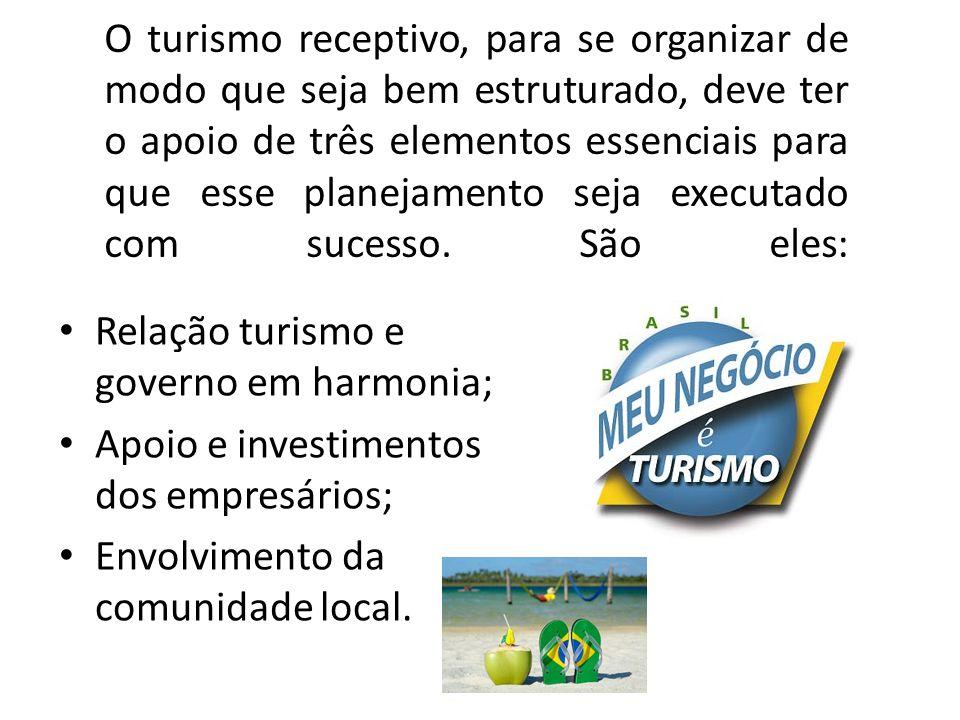 O turismo receptivo, para se organizar de modo que seja bem estruturado, deve ter o apoio de três elementos essenciais para que esse planejamento seja