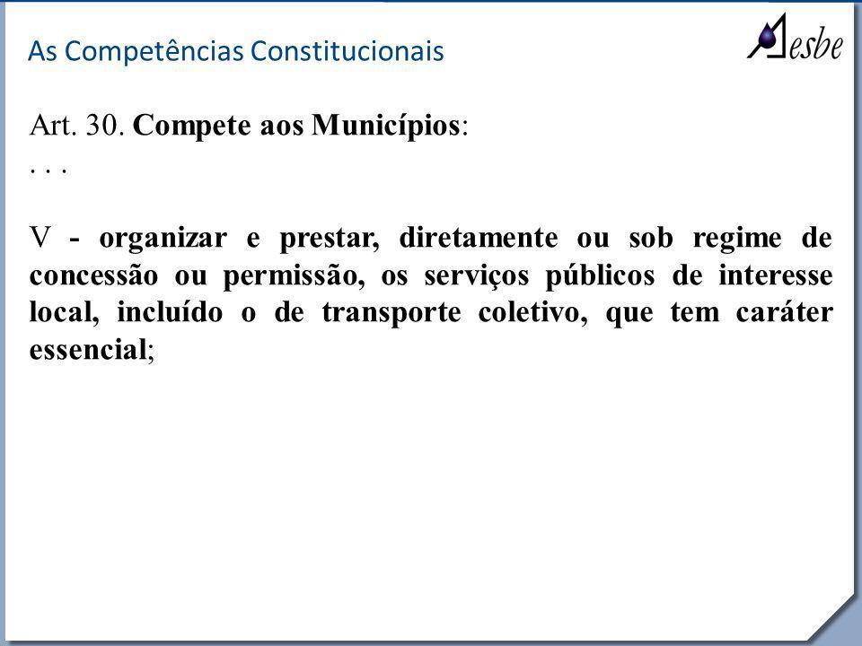 RRe As Competências Constitucionais Art. 30. Compete aos Municípios:... V - organizar e prestar, diretamente ou sob regime de concessão ou permissão,