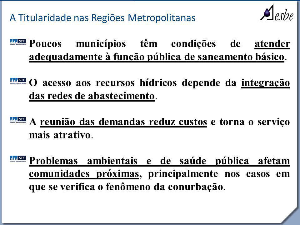 RRe A Titularidade nas Regiões Metropolitanas Poucos municípios têm condições de atender adequadamente à função pública de saneamento básico. O acesso