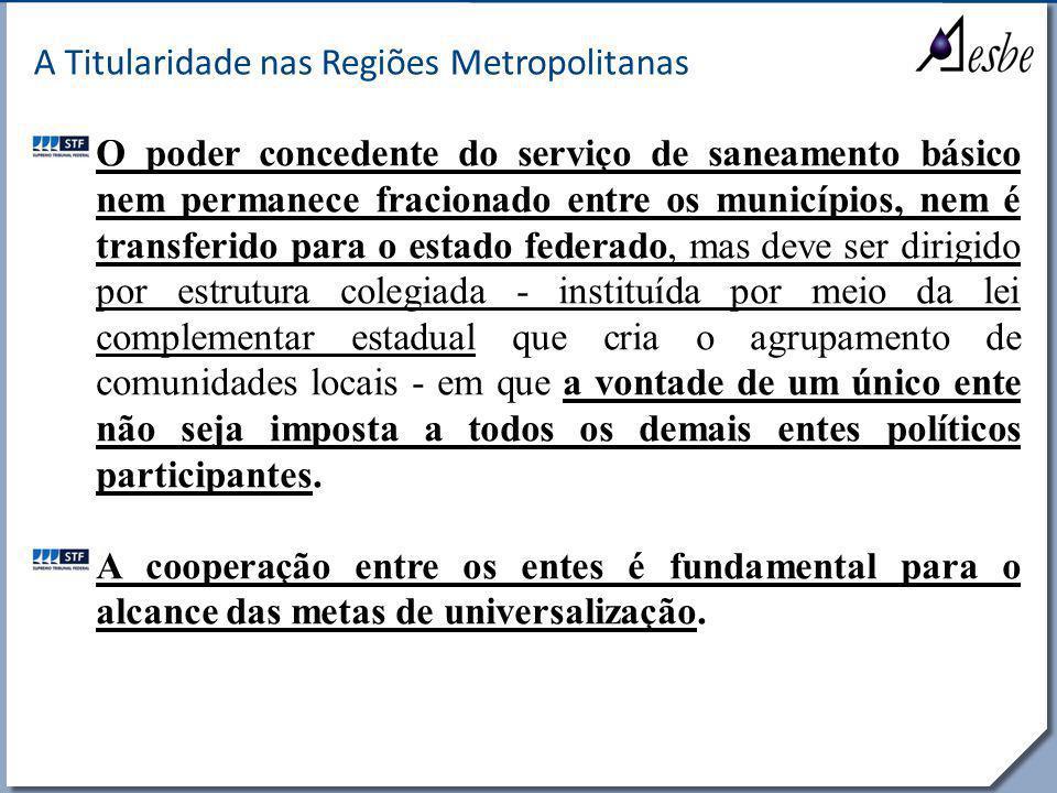 RRe A Titularidade nas Regiões Metropolitanas O poder concedente do serviço de saneamento básico nem permanece fracionado entre os municípios, nem é t