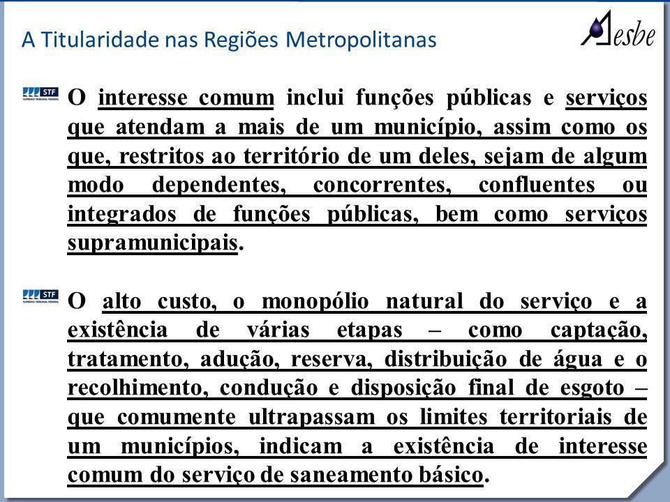 RRe A Titularidade nas Regiões Metropolitanas O interesse comum inclui funções públicas e serviços que atendam a mais de um município, assim como os q