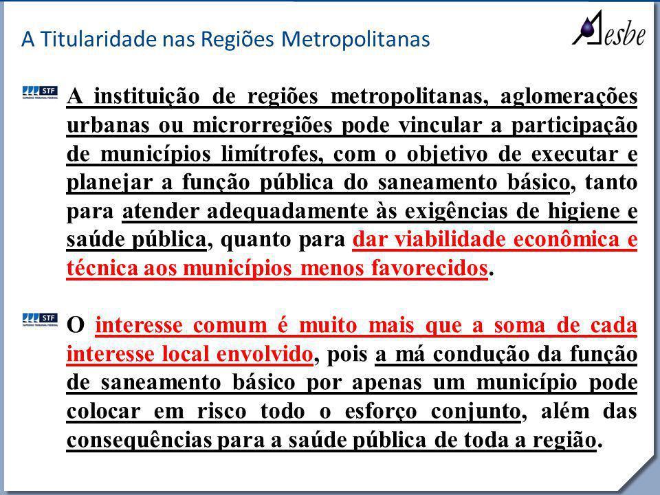 RRe A Titularidade nas Regiões Metropolitanas A instituição de regiões metropolitanas, aglomerações urbanas ou microrregiões pode vincular a participa