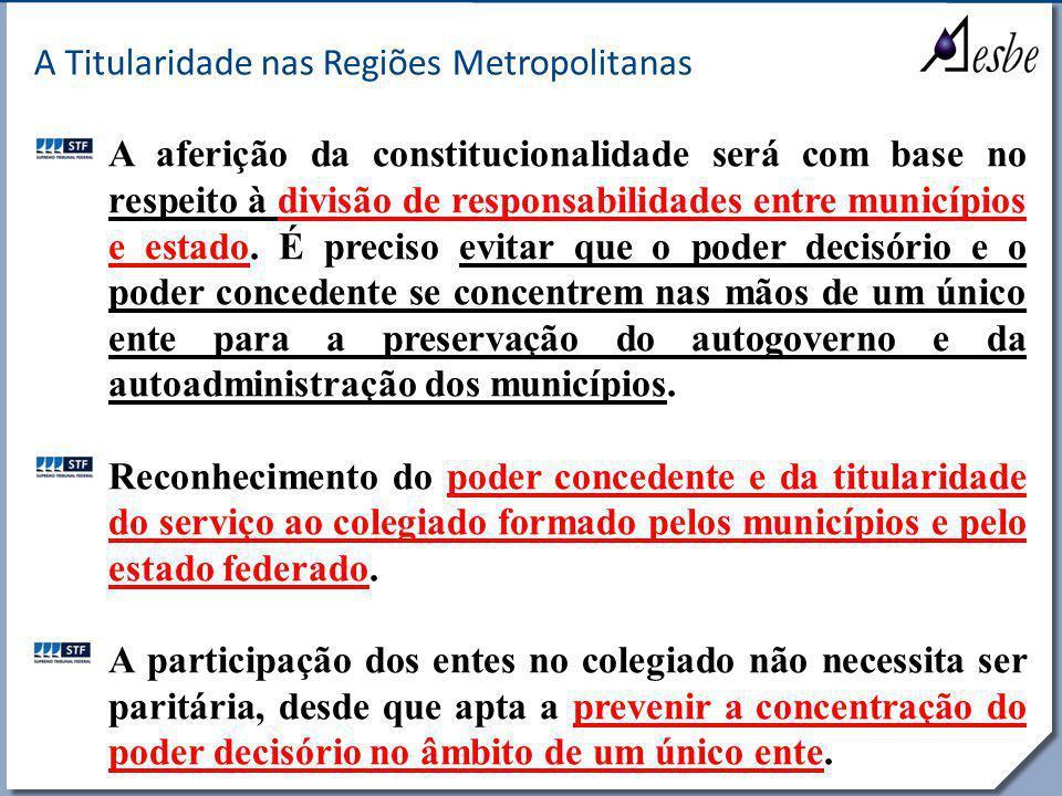RRe A Titularidade nas Regiões Metropolitanas A aferição da constitucionalidade será com base no respeito à divisão de responsabilidades entre municíp