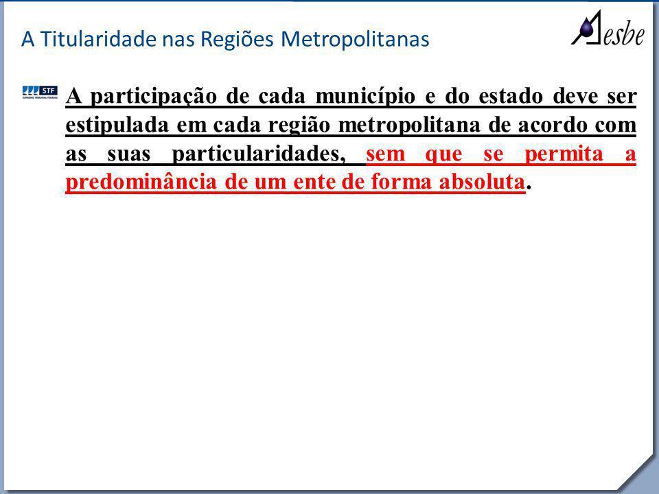 RRe A Titularidade nas Regiões Metropolitanas A participação de cada município e do estado deve ser estipulada em cada região metropolitana de acordo