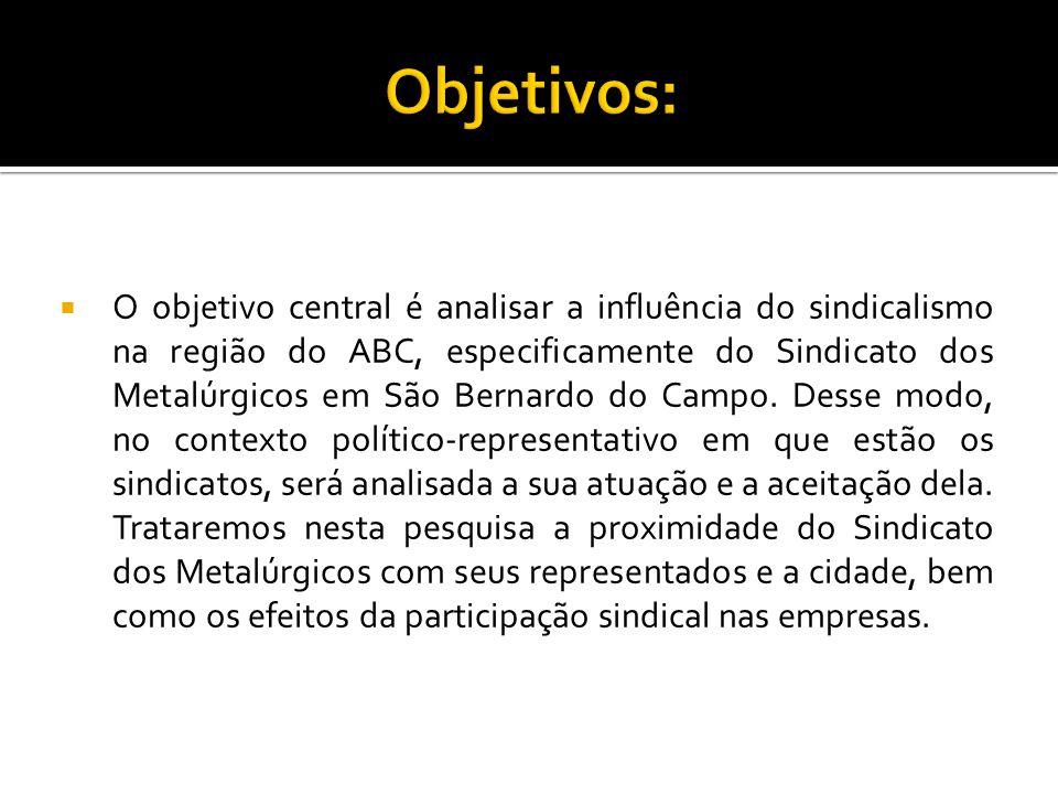  O objetivo central é analisar a influência do sindicalismo na região do ABC, especificamente do Sindicato dos Metalúrgicos em São Bernardo do Campo.