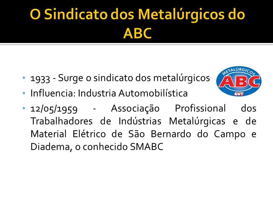 1933 - Surge o sindicato dos metalúrgicos Influencia: Industria Automobilística 12/05/1959 - Associação Profissional dos Trabalhadores de Indústrias Metalúrgicas e de Material Elétrico de São Bernardo do Campo e Diadema, o conhecido SMABC