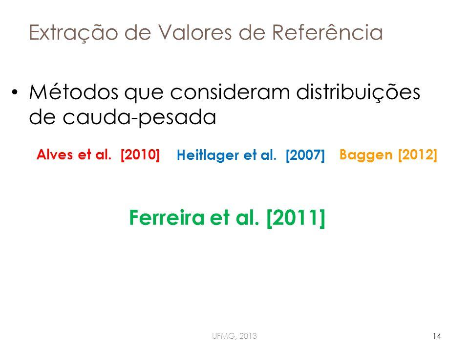Extração de Valores de Referência Métodos que consideram distribuições de cauda-pesada UFMG, 201314 Ferreira et al.