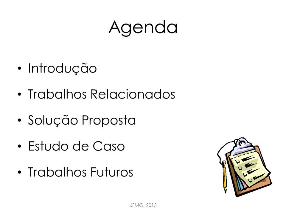 Agenda Introdução Trabalhos Relacionados Solução Proposta Estudo de Caso Trabalhos Futuros UFMG, 2013