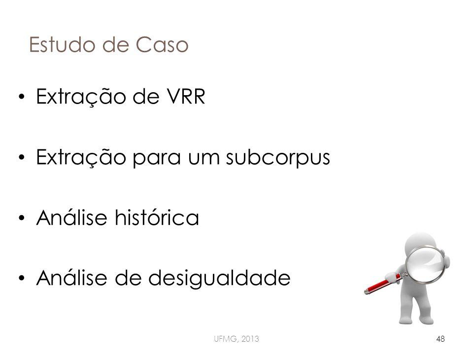 Estudo de Caso UFMG, 201348 Extração de VRR Extração para um subcorpus Análise histórica Análise de desigualdade