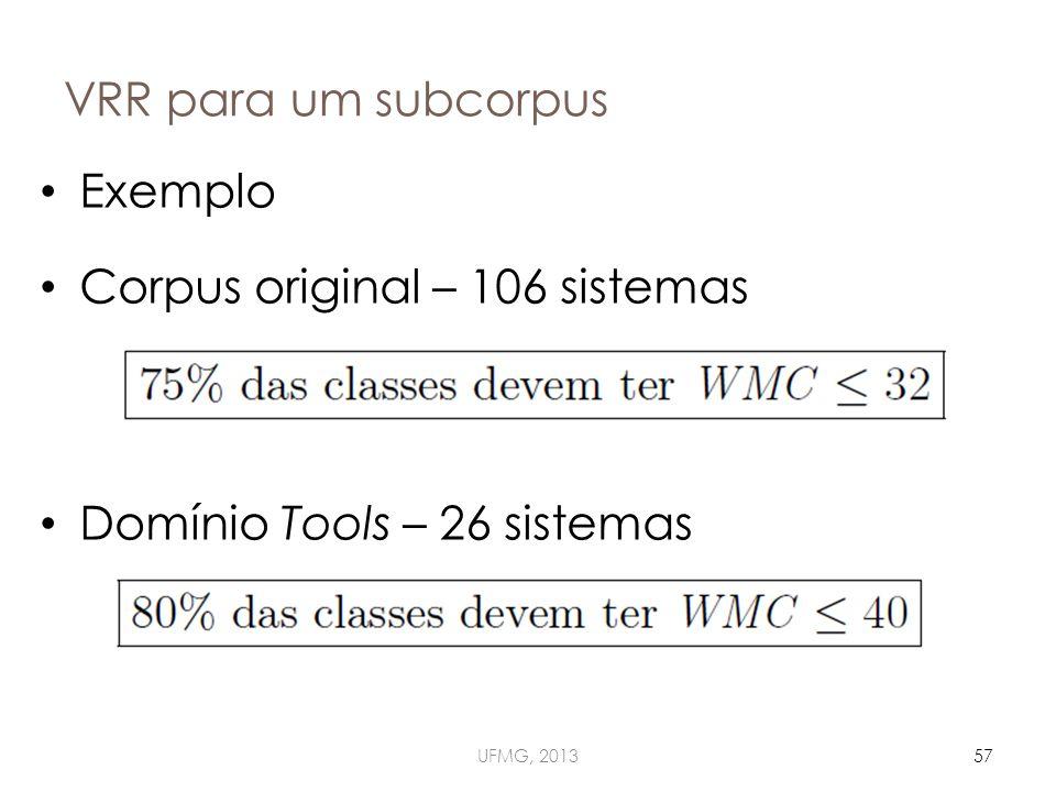 VRR para um subcorpus UFMG, 201357 Exemplo Corpus original – 106 sistemas Domínio Tools – 26 sistemas