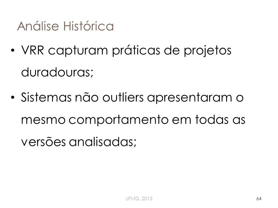 Análise Histórica UFMG, 201364 VRR capturam práticas de projetos duradouras; Sistemas não outliers apresentaram o mesmo comportamento em todas as versões analisadas;