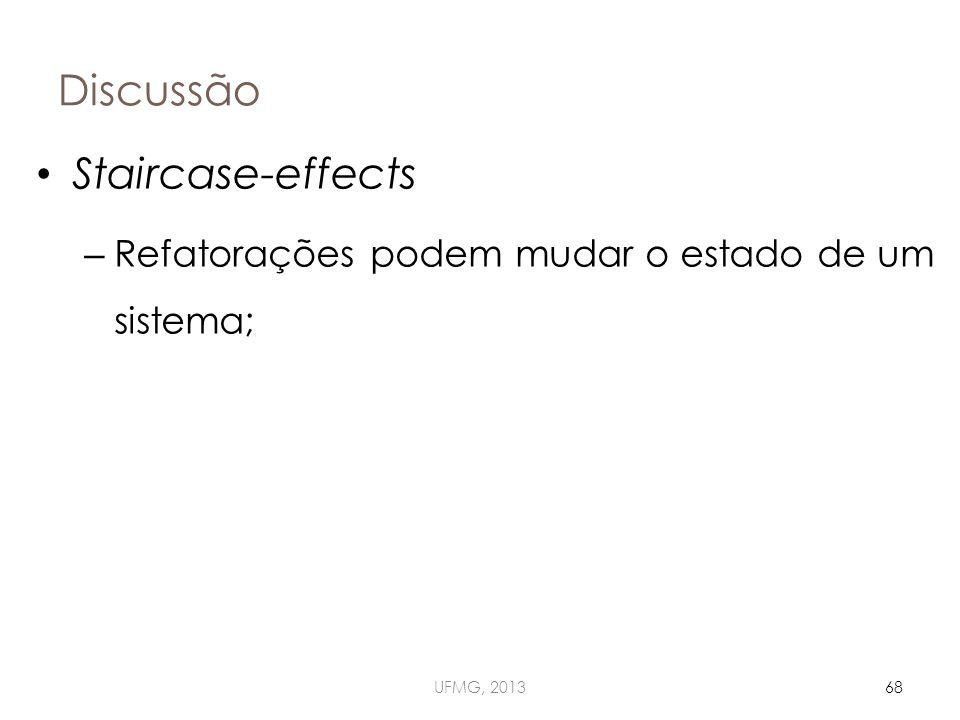 Discussão UFMG, 201368 Staircase-effects – Refatorações podem mudar o estado de um sistema;