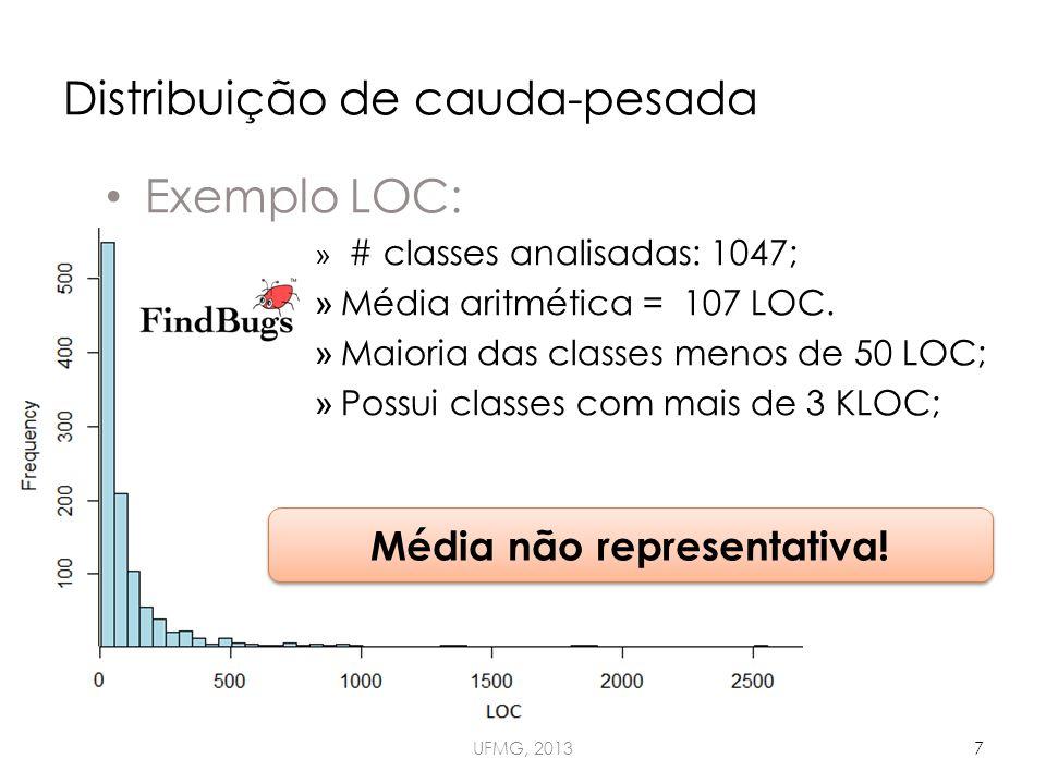 Distribuição de cauda-pesada UFMG, 20137 Exemplo LOC: » # classes analisadas: 1047; » Média aritmética = 107 LOC.