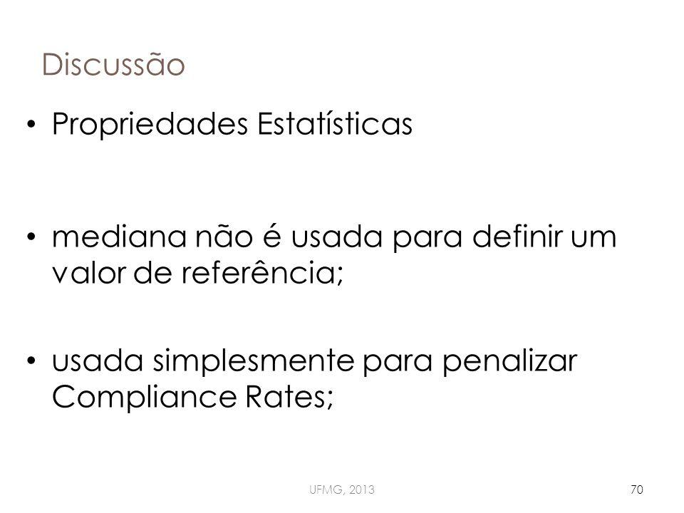 Discussão UFMG, 201370 Propriedades Estatísticas mediana não é usada para definir um valor de referência; usada simplesmente para penalizar Compliance Rates;