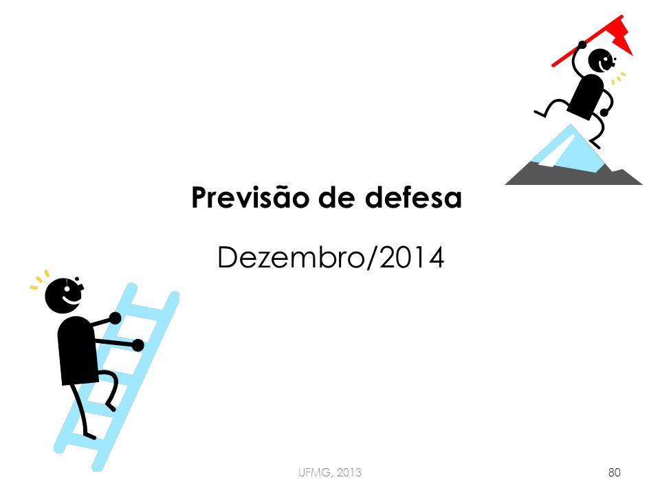 UFMG, 201380 Previsão de defesa Dezembro/2014