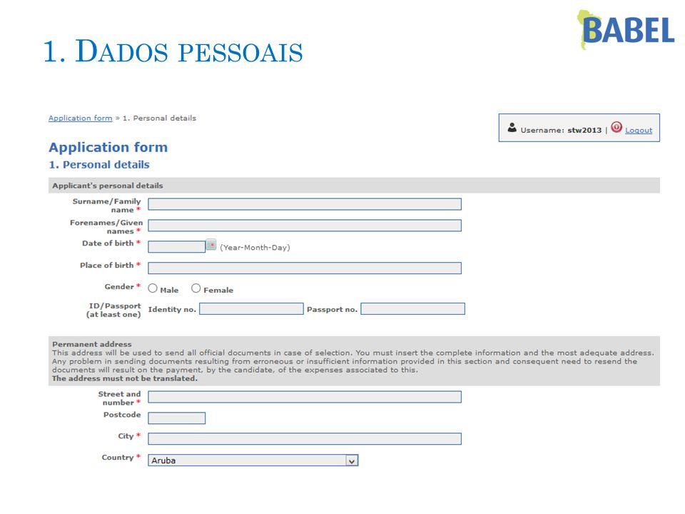 1. D ADOS PESSOAIS