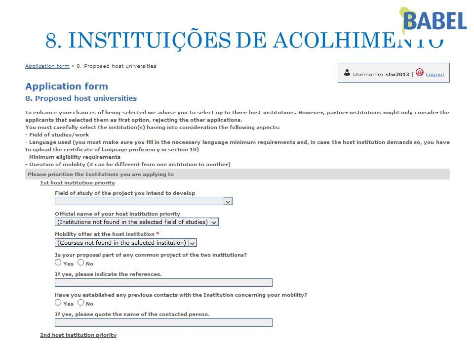 8. INSTITUIÇÕES DE ACOLHIMENTO