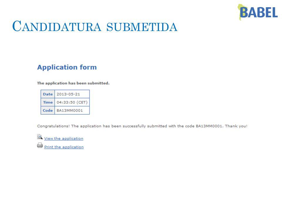 C ANDIDATURA SUBMETIDA