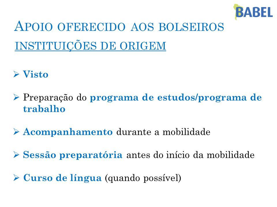 A POIO OFERECIDO AOS BOLSEIROS INSTITUIÇÕES DE ORIGEM  Visto  Preparação do programa de estudos/programa de trabalho  Acompanhamento durante a mobilidade  Sessão preparatória antes do início da mobilidade  Curso de língua (quando possível)