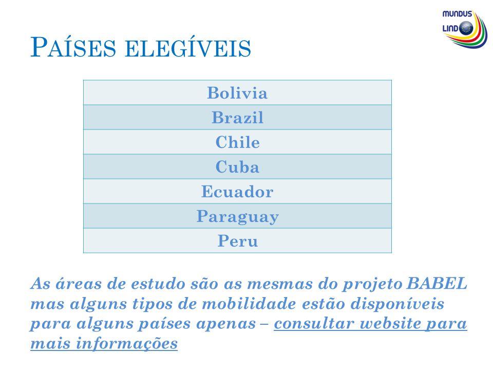 P AÍSES ELEGÍVEIS Bolivia Brazil Chile Cuba Ecuador Paraguay Peru As áreas de estudo são as mesmas do projeto BABEL mas alguns tipos de mobilidade estão disponíveis para alguns países apenas – consultar website para mais informações