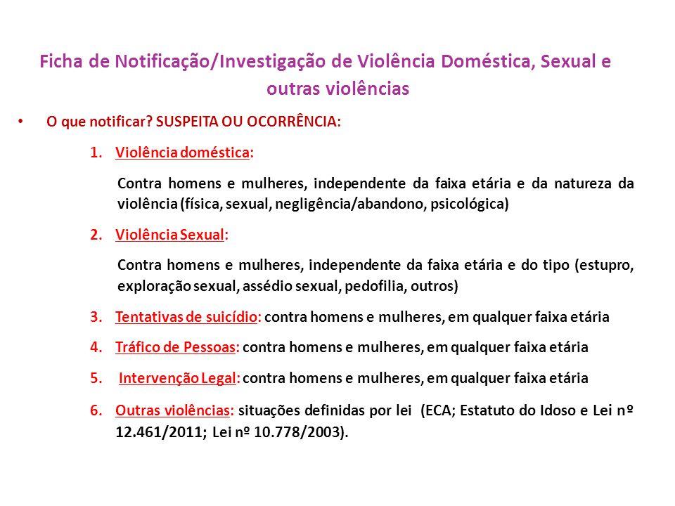 Ficha de Notificação/Investigação de Violência Doméstica, Sexual e outras violências O que notificar? SUSPEITA OU OCORRÊNCIA: 1.Violência doméstica: C