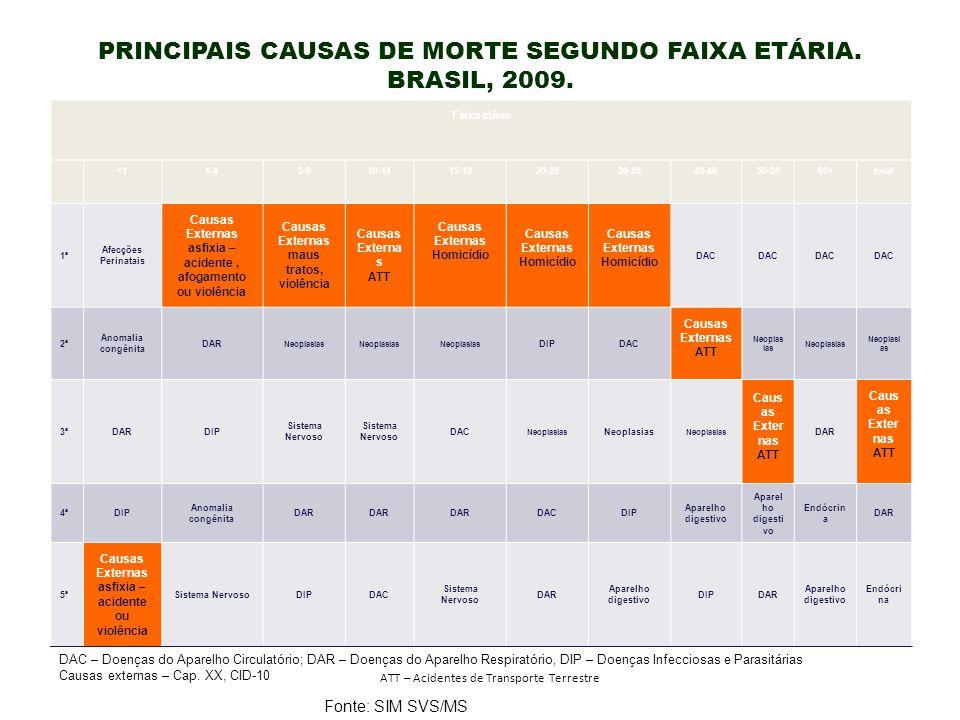 PRINCIPAIS CAUSAS DE MORTE SEGUNDO FAIXA ETÁRIA. BRASIL, 2009. DAC – Doenças do Aparelho Circulatório; DAR – Doenças do Aparelho Respiratório, DIP – D