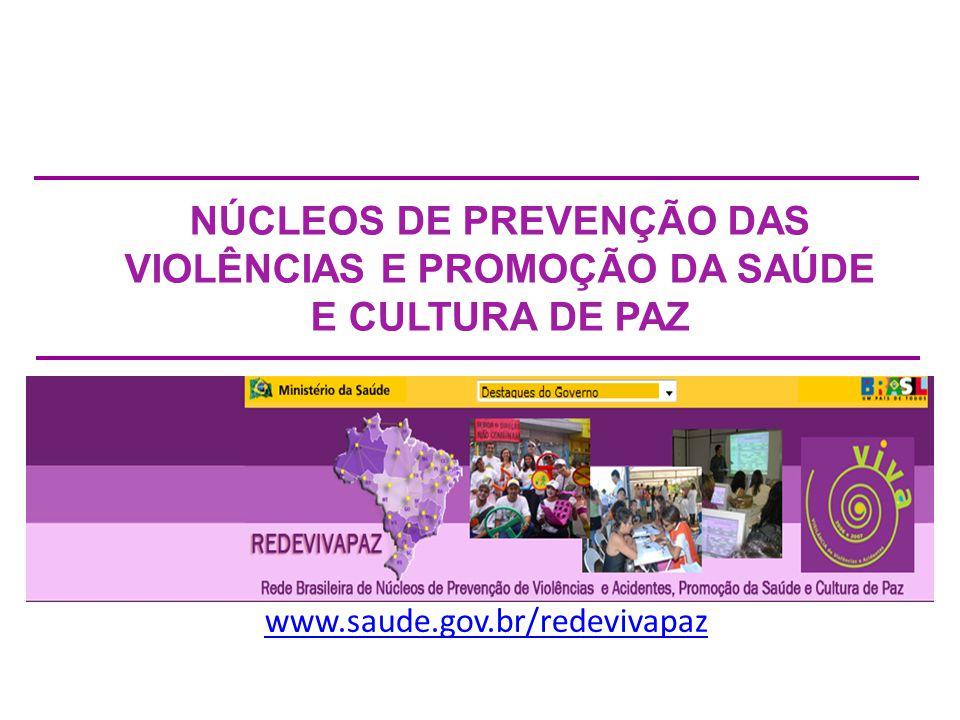 NÚCLEOS DE PREVENÇÃO DAS VIOLÊNCIAS E PROMOÇÃO DA SAÚDE E CULTURA DE PAZ www.saude.gov.br/redevivapaz