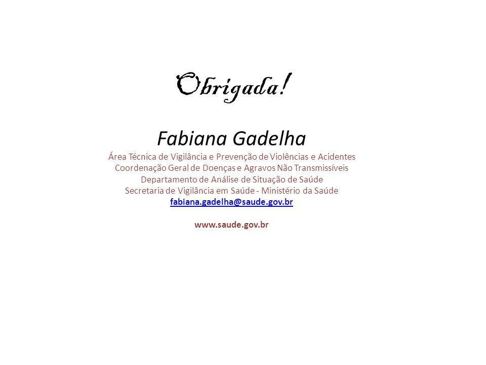 Obrigada! Fabiana Gadelha Área Técnica de Vigilância e Prevenção de Violências e Acidentes Coordenação Geral de Doenças e Agravos Não Transmissíveis D