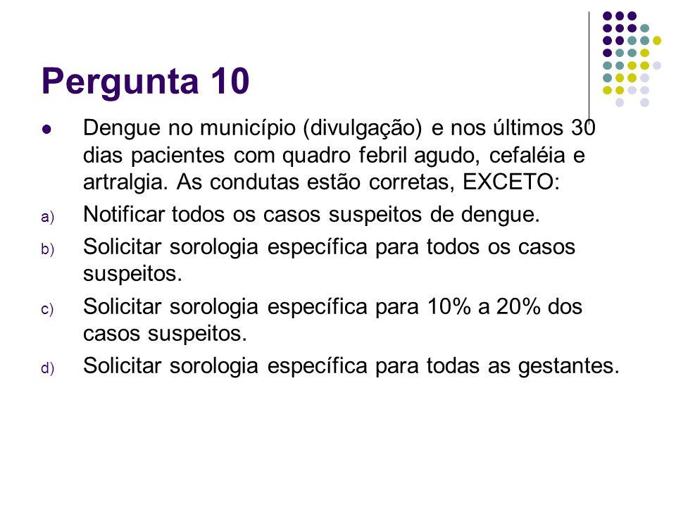 Pergunta 10 Dengue no município (divulgação) e nos últimos 30 dias pacientes com quadro febril agudo, cefaléia e artralgia. As condutas estão corretas