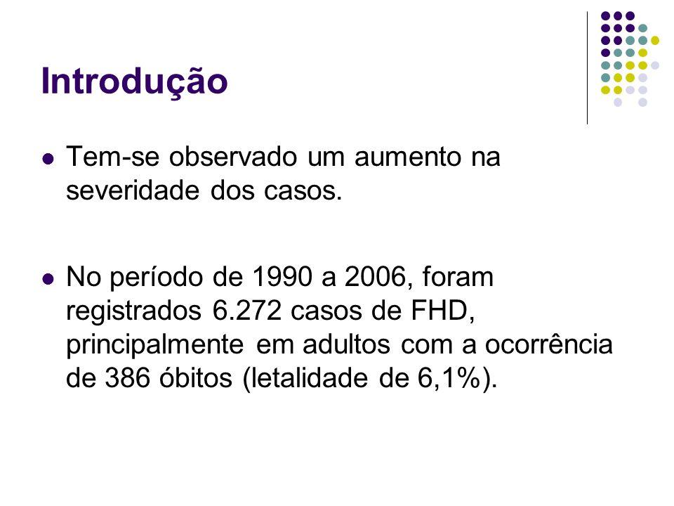 Introdução Tem-se observado um aumento na severidade dos casos. No período de 1990 a 2006, foram registrados 6.272 casos de FHD, principalmente em adu