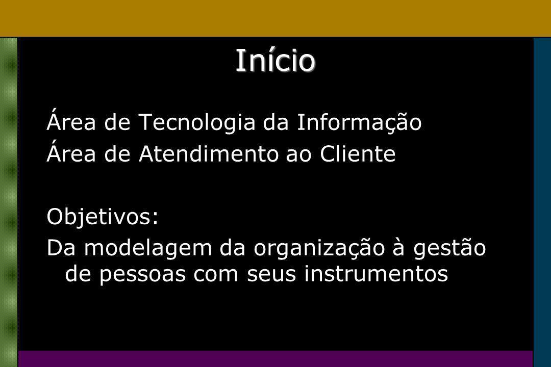 Início Área de Tecnologia da Informação Área de Atendimento ao Cliente Objetivos: Da modelagem da organização à gestão de pessoas com seus instrumentos