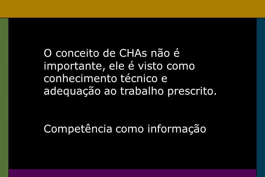O conceito de CHAs não é importante, ele é visto como conhecimento técnico e adequação ao trabalho prescrito.