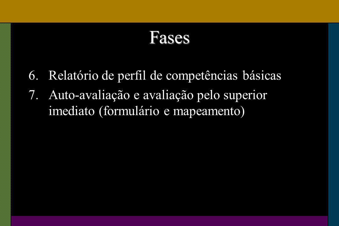Fases 6.Relatório de perfil de competências básicas 7.Auto-avaliação e avaliação pelo superior imediato (formulário e mapeamento)