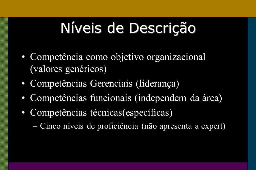 Níveis de Descrição Competência como objetivo organizacional (valores genéricos) Competências Gerenciais (liderança) Competências funcionais (independem da área) Competências técnicas(específicas) –Cinco níveis de proficiência (não apresenta a expert)