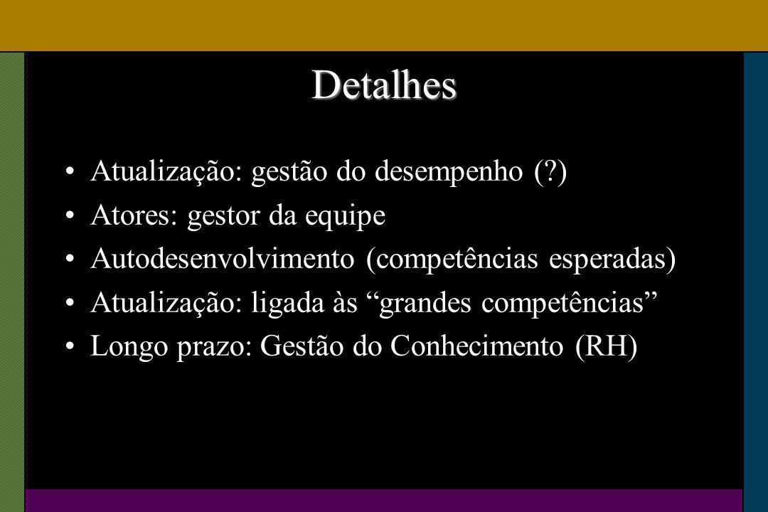 Detalhes Atualização: gestão do desempenho ( ) Atores: gestor da equipe Autodesenvolvimento (competências esperadas) Atualização: ligada às grandes competências Longo prazo: Gestão do Conhecimento (RH)