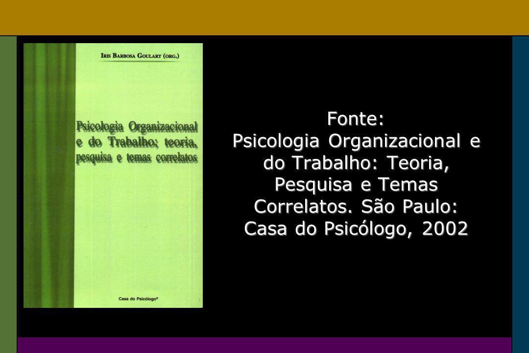 Fonte: Psicologia Organizacional e do Trabalho: Teoria, Pesquisa e Temas Correlatos.