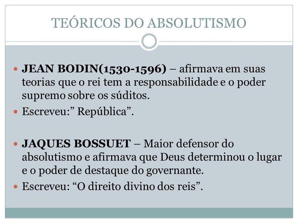 TEÓRICOS DO ABSOLUTISMO JEAN BODIN(1530-1596) – afirmava em suas teorias que o rei tem a responsabilidade e o poder supremo sobre os súditos.