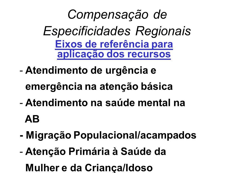 Compensação de Especificidades Regionais Eixos de referência para aplicação dos recursos - Atendimento de urgência e emergência na atenção básica - At