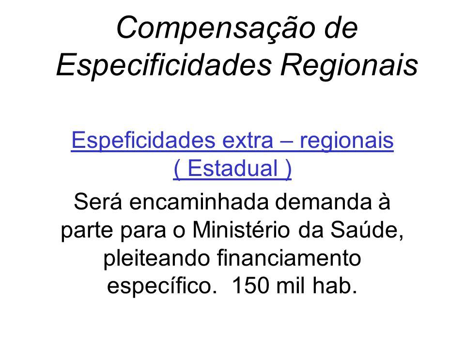 Compensação de Especificidades Regionais Espeficidades extra – regionais ( Estadual ) Será encaminhada demanda à parte para o Ministério da Saúde, ple