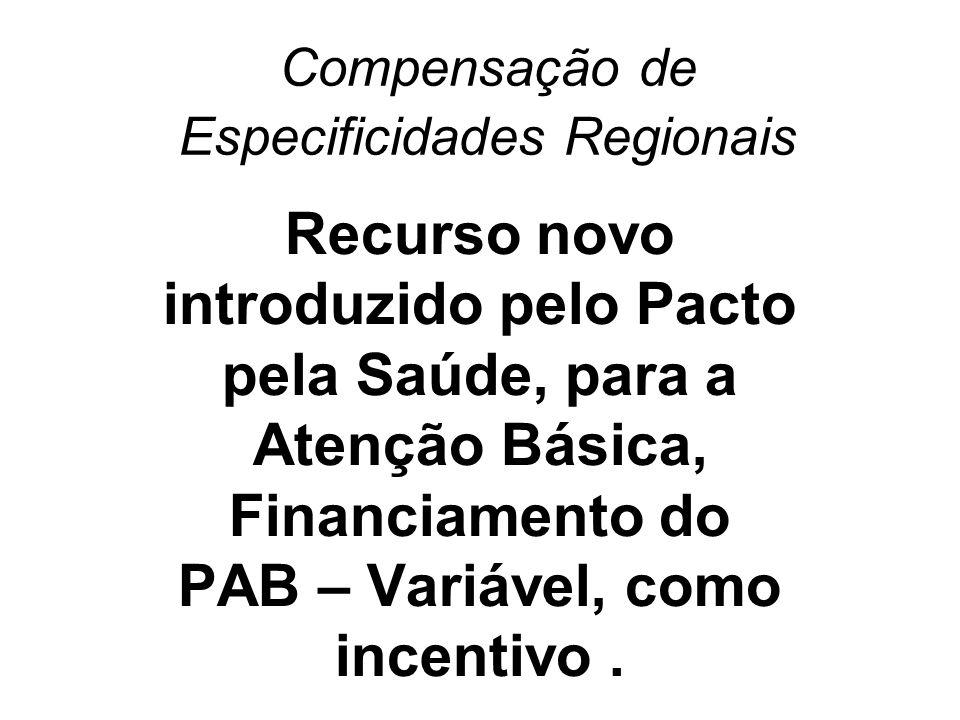 Compensação de Especificidades Regionais Recurso novo introduzido pelo Pacto pela Saúde, para a Atenção Básica, Financiamento do PAB – Variável, como