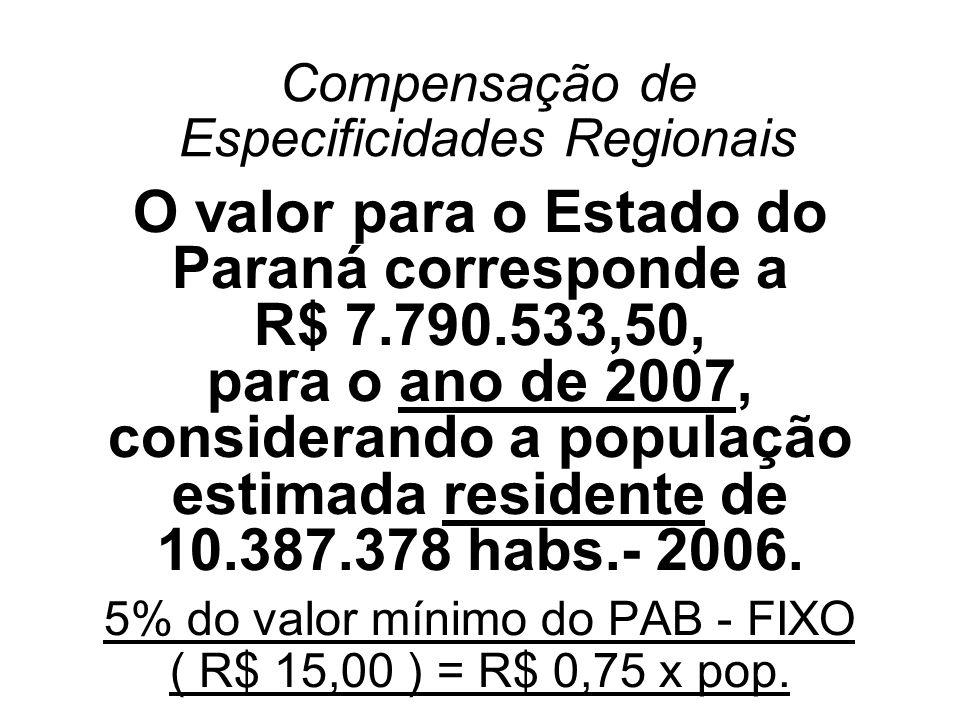 Compensação de Especificidades Regionais O valor para o Estado do Paraná corresponde a R$ 7.790.533,50, para o ano de 2007, considerando a população e