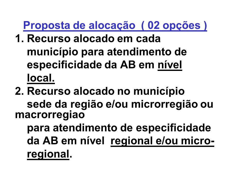 Proposta de alocação ( 02 opções ) 1. Recurso alocado em cada município para atendimento de especificidade da AB em nível local. 2. Recurso alocado no