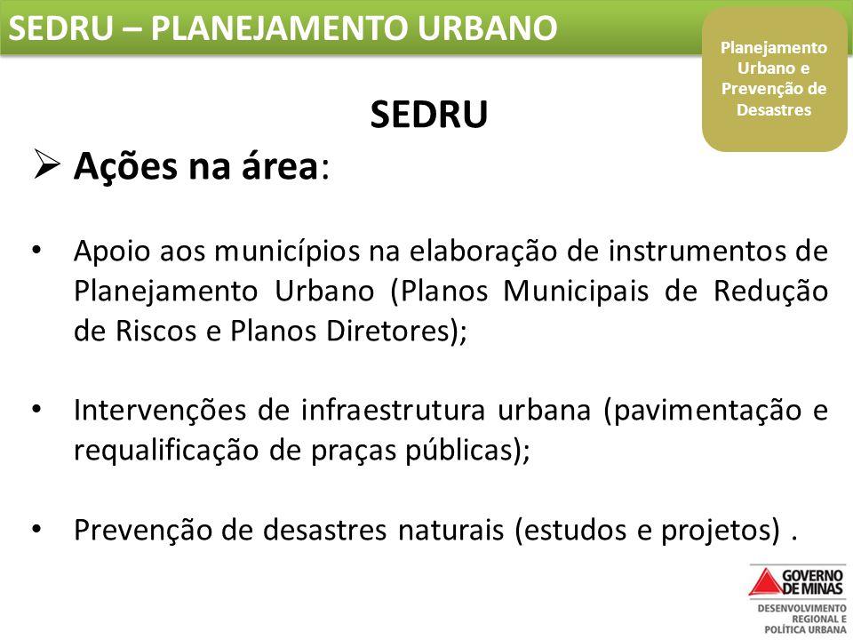 SEDRU – PLANEJAMENTO URBANO SEDRU  Ações na área: Apoio aos municípios na elaboração de instrumentos de Planejamento Urbano (Planos Municipais de Redução de Riscos e Planos Diretores); Intervenções de infraestrutura urbana (pavimentação e requalificação de praças públicas); Prevenção de desastres naturais (estudos e projetos).